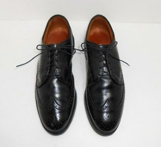 Allen Edmonds Auburn Black Leather Wing Tip Oxfords Shoes Sz 9.5 D