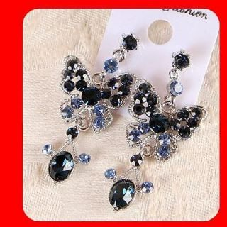 Women Jewelry Beautiful BLUE CRYSTAL CHANDELIER WGP EARRINGS ER512