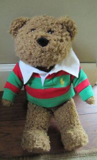 VTG POLO RALPH LAUREN MENS TEDDY BEAR STRIPED RUGBY THICK SHIRT LG