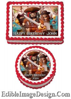 OF THE CARIBBEAN Edible Birthday Cake Image Cupcake Topper Favors LEGO