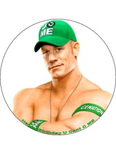 WWE John Cena Personalised Edible Cake Topper. 7.5 round or A4 icing
