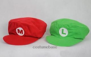 2PCS Luigi Super Mario Bros Adult Kids Hat Cap Costume M L (Flat Top