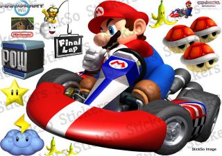 Super Mario Bros, Mario Kart Wii RePositionable wall Sticker / Decal