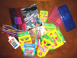 To School Supplies Rulers Pencils Glue Markers Crayons Erasers Pens