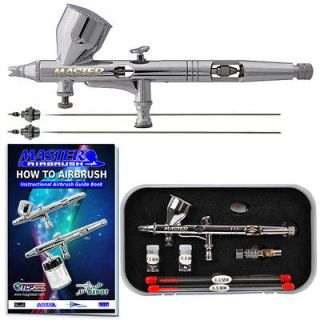 New MASTER PRO Dual Action Gravity Feed AIRBRUSH KIT SET 3 Tips MAC