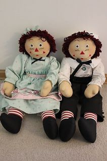HUGE 29 inch Raggedy Anne Ann and Andy cloth fabric dolls