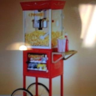 Nostalgia Old Fashioned Home Or Commercial   Popcorn Machine + Cart