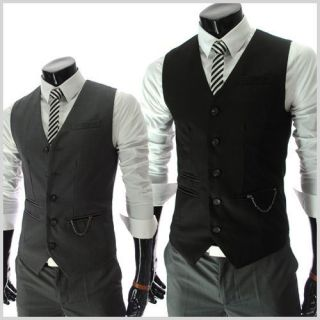 RVE) THELEES Mens Casual Chain Zipper Pocket 5 Button Slim Vest
