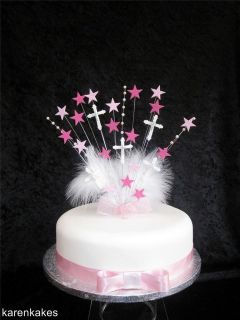 PINK CHRISTENING / FIRST HOLY COMMUNION CAKE TOPPER WITH DIAMANTE