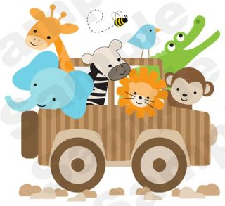 JUNGLE SAFARI MONKEY ZEBRA GIRAFFE JEEP NURSERY BABY WALL MURAL