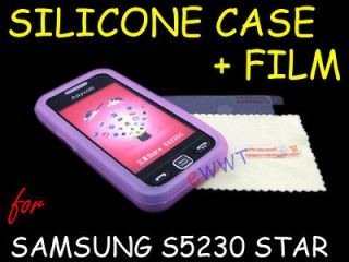 Pink Silicone Soft Cover Case+LCD Film for Samsung S5230 Tocco Lite