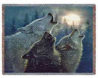 WOLF PACK WOLVES LODGE WILDLIFE TAPESTRY THROW BLANKET