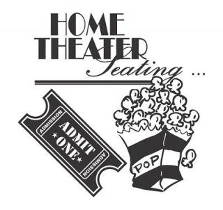 Home Theater Popcorn and Ticket DecalVinyl Decal Sticker Home
