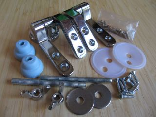 NEW chromed TOILET SEAT HINGE SETS with SLIPFIX*fixings for a secure