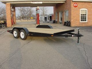 16ft 7000 LBS G.V.W. WOOD DECK CAR HAULER TRAILER W REMOVABLE FENDERS