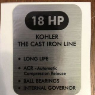 Kohler 18 Hp John Deere, Cub Cadet, Denise, black and silver