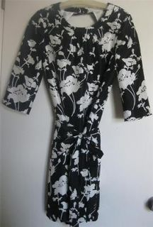 KATE SPADE floral dress black white DOROTHY 3/4 sleeve 2 silk cocktail