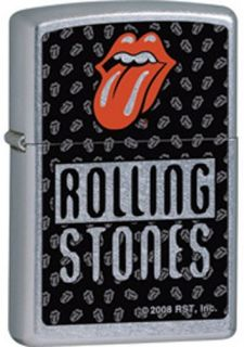 Lighter~Rolling Stones~Lips & Tongue Logo~Street Chrome~Zippo~24544