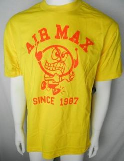 NIKE AIR MAX SINCE 1987 NEW Mens Yellow Cotton Shirt Size S M L