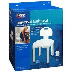 Carex Universal Bath Seat with Back B671 00 Heavy Duty Shower Seat