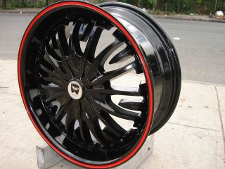 GWG G36 18 BLACK RED RING WHEELS RIMS AUDI A3 A4 A5 A6 TT Q5