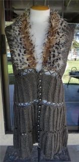 Leopard Print Faux Fur Collar Long Sweater Vest Sz. S,M,L