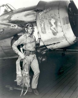 US Navy Pilot with Nose Art WW2 Photo WWII