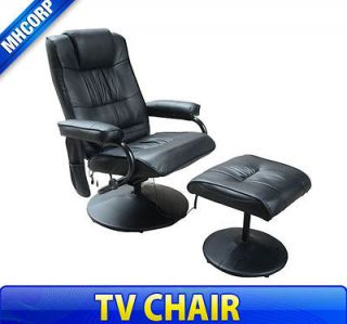 Professional TV Office Massage Chair Soft Seat with Ottoman Black