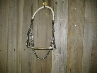 Stainless Steel Bit Rope Noseband Barrel Racing Bit Swivel Cheeks