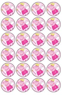 24 x Peppa Pig Princess Rice Wafer Paper Cup Cake Bun Top Toppers