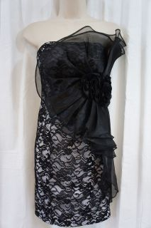Betsy & Adam Dress Sz 14 Black White Strapless Cocktail Mini Floral
