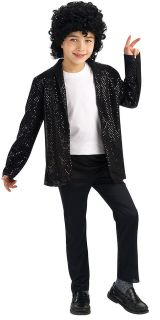 Boys Deluxe Black Michael Jackson Billie Jean Jacket Costume   Mich
