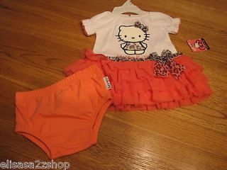 Hello Kitty Sanrio Baby Girls Tutu dress & Bloomers white & coral 3 6