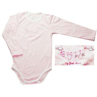 New Chicco cute pink girls baby bodysuits long sleeve 1 18 months soft