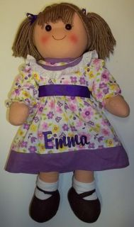 Rag Doll 16 LT Brunette Hair   Purple Floral Personalized Dress Sash