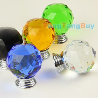 mm Round Crystal Round Glass Knobs Cabinet Drawer Door Bureau Handles