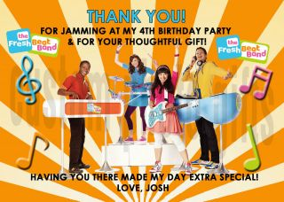 Fresh Beat Band Personalized Birthday Thank You Card Digital File, You