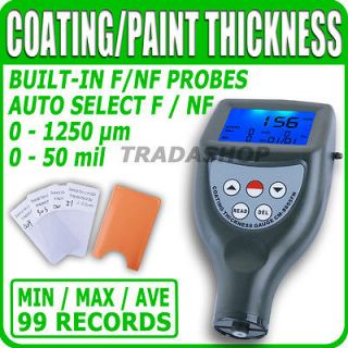 Paint Coating Thickness Gauge Meter F/NF Probes Painting 0~1250 μm