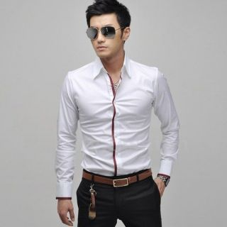 Mens Luxury Stylish Casual Dress Slim Fit Shirts Purple US L   China