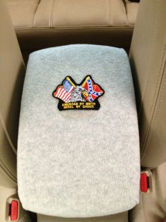 Auto Center Console Armrest Covers F6 LT GRY with AMERICAN/ REBEL FLAG