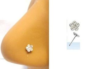 CZ GEM FLOWER Nose Ring Bone Ball End Pin 22 gauge 22g CLEAR Crystal