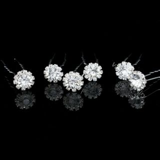 Pcs Flower Bridal Wedding Prom Crystal Rhinestone Hair Pins H71