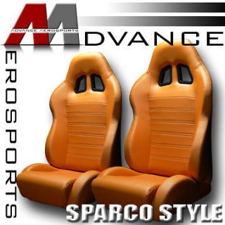 2x Universal SP Style PVC Leather Orange Racing Seats+Sliders Left