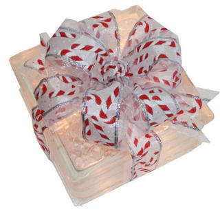 Christmas Holiday Decoration  Lighted Glass Block with Candy Cane