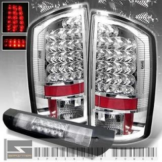 07 08 DODGE RAM FULL LED TAIL LIGHTS + LED 3RD BRAKE LAMP LIGHT (Fits