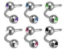 Double Gem Spiral Belly Button Ring Lot of 3