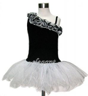 White Black Flower Girls Fairy Dress Ballet Leotard Tutu Party Skirt 1