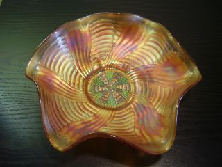 Antique Fenton Carnival Glass Pumpkin Marigold Ribbon Tie Bowl
