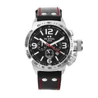 TW Steel Mens TW78 Canteen Black Leather Chronograph Dial Watch