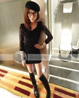 Wholesale OVP Sexy Lace Slim V Neck Long Sleeve Black Dresses